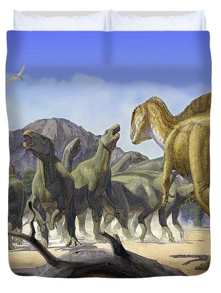 Altispinax Dunkeri Dinosaurs Attack Duvet Cover by Sergey Krasovskiy