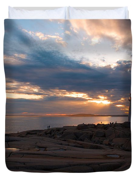 Amazing Sunset at Peggy's Cove Duvet Cover by Andre Distel