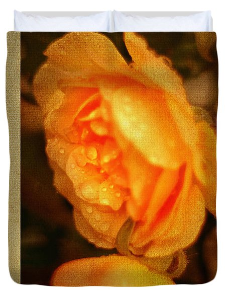 Amber Queen Rose Duvet Cover by Jenny Rainbow