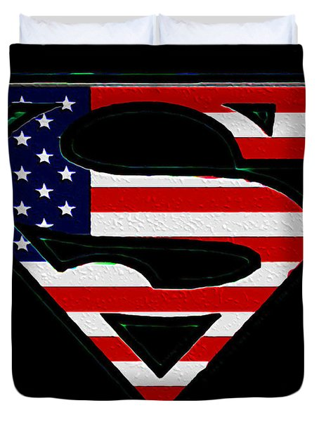 American Flag Superman Shield Duvet Cover by Bill Cannon
