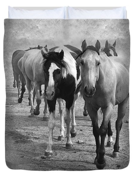 American Quarter Horse Herd In Black And White Duvet Cover by Betty LaRue