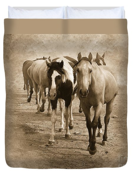 American Quarter Horse Herd in Sepia Duvet Cover by Betty LaRue