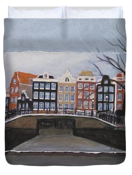 Amsterdam Bridge Layered Duvet Cover by Anita Burgermeister