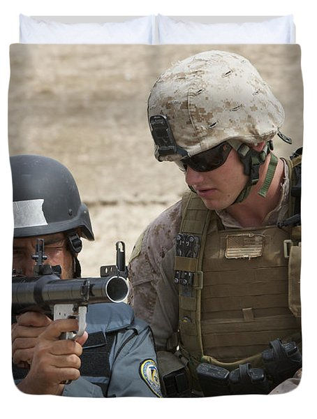 An Afghan Police Student Aiming A Rpg-7 Duvet Cover by Terry Moore