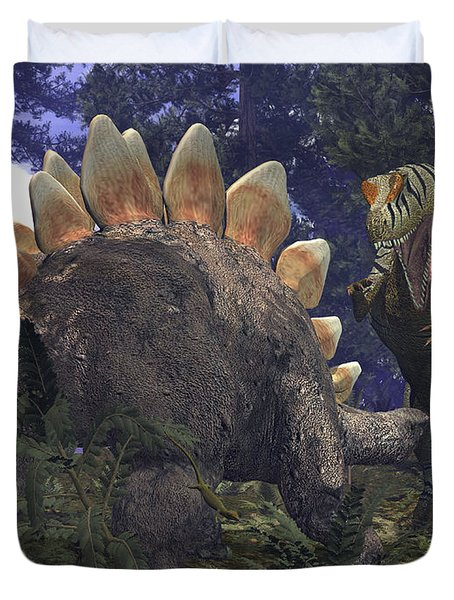 An Allosaurus Stumbles Upon A Grazing Duvet Cover by Walter Myers