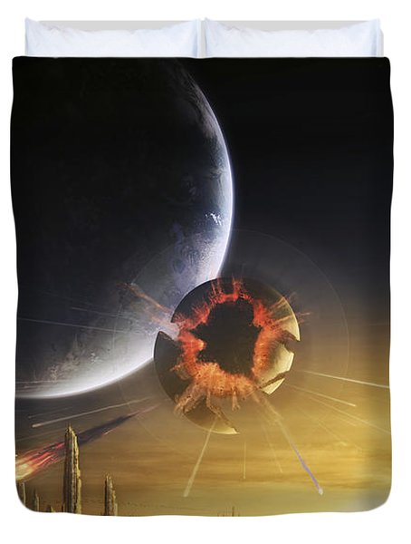 An Apocalyptic Scene Showing A Gravity Duvet Cover by Tobias Roetsch