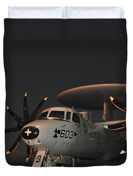An E-2c Hawkeye Is Chained Duvet Cover by Stocktrek Images