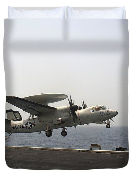 An E-2c Hawkeye Takes Duvet Cover by Stocktrek Images