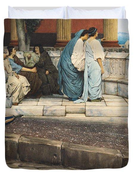 An Exedra Duvet Cover by Sir Lawrence Alma-Tadema