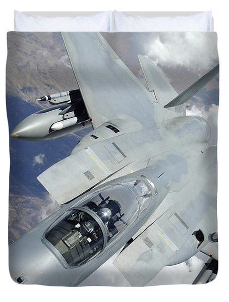 An F-15 Eagle Pulls Away From A Kc-135 Duvet Cover by Stocktrek Images