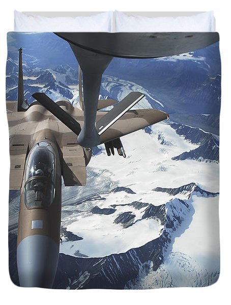 An F-15c Eagle Aircraft Sits Duvet Cover by Stocktrek Images