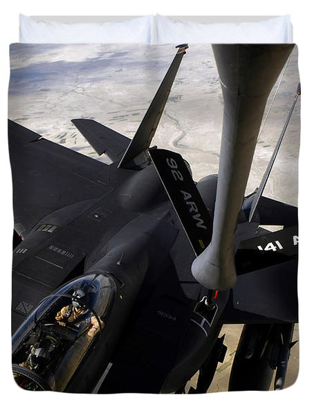 An F-15e Strike Eagle Aircraft Receives Duvet Cover by Stocktrek Images