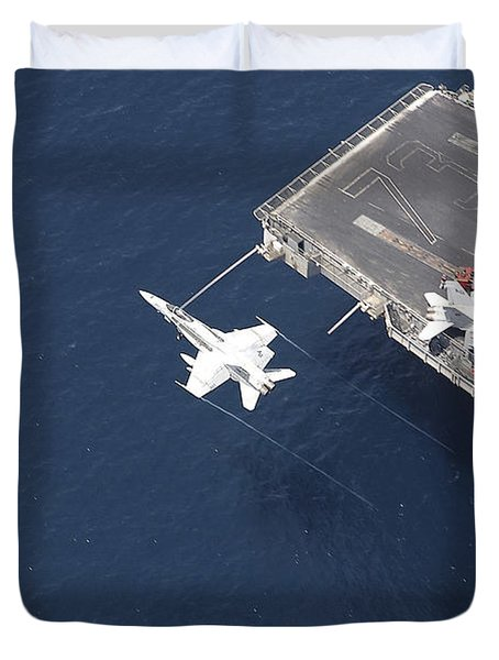 An Fa-18 Hornet Flys Over Aircraft Duvet Cover by Stocktrek Images