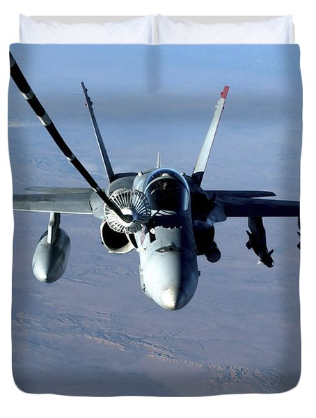 An Fa-18c Hornet Receives Fuel Duvet Cover by Stocktrek Images