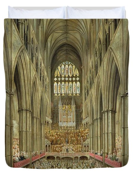 An Interior View Of Westminster Abbey On The Commemoration Of Handel's Centenary Duvet Cover by Edward Edwards