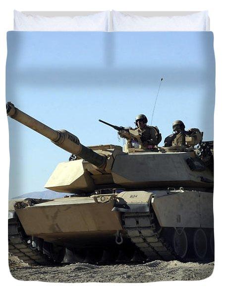 An M1a1 Main Battle Tank Duvet Cover by Stocktrek Images
