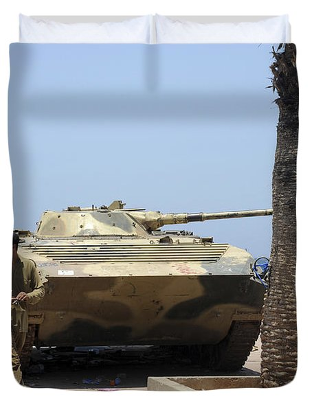 An Old Russian Bmp Armored Personnel Duvet Cover by Andrew Chittock