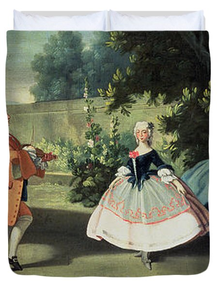 An Ornamental Garden With A Young Girl Dancing To A Fiddle Duvet Cover by Filippo Falciatore