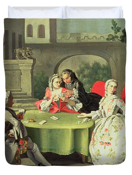 An Ornamental Garden With Elegant Figures Seated Around A Card Table Duvet Cover by Filippo Falciatore