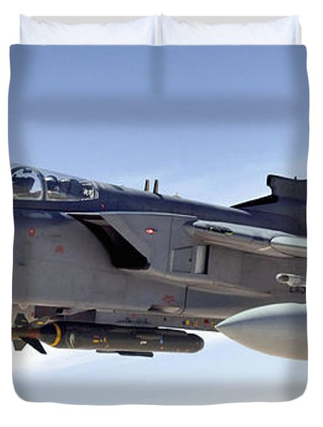 An Raf Tornado Gr-4 Takes On Fuel Duvet Cover by Stocktrek Images