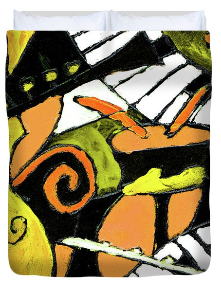 And All That Jazz Orange Duvet Cover by Wayne Potrafka