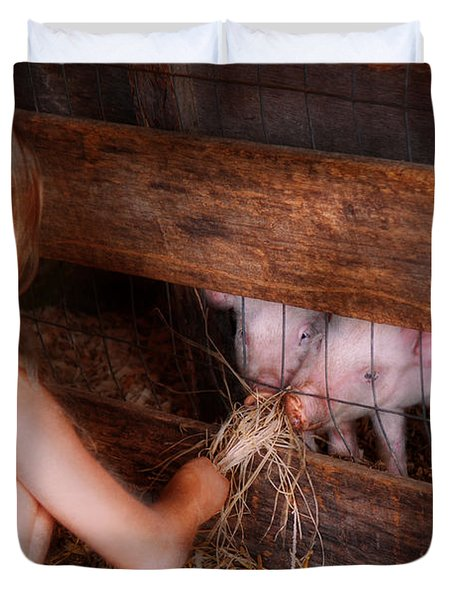 Animal - Pig - Feeding piglets  Duvet Cover by Mike Savad