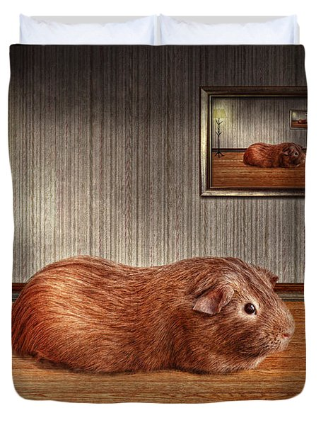 Animal - The guinea pig Duvet Cover by Mike Savad