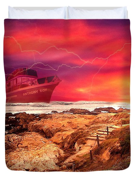 Anthony Boy Waiting Out The Storm Duvet Cover by Joyce Dickens