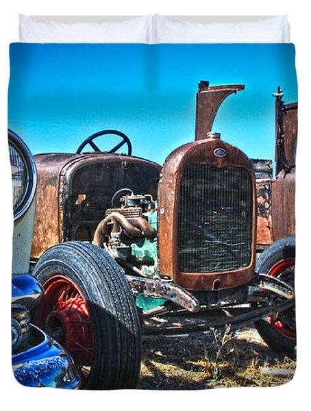 Antique Auto Sales Duvet Cover by Steve McKinzie