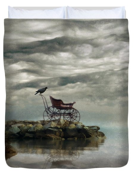 Antique Baby Buggy By The Sea Duvet Cover by Jill Battaglia