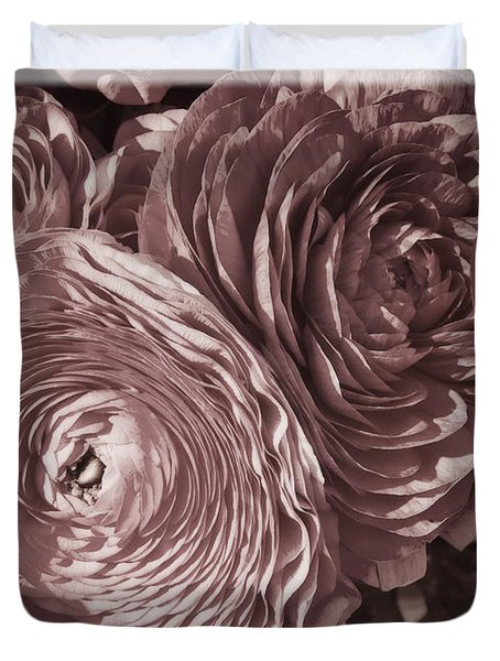 Antique Pink Ranunculus Duvet Cover by Joan Carroll