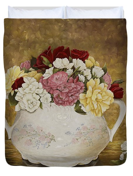Antique Roses Duvet Cover by Mary Ann King