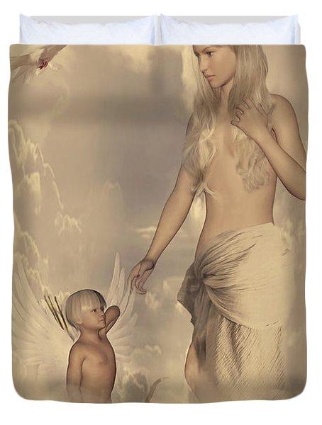 Aphrodite And Eros Duvet Cover by Lourry Legarde