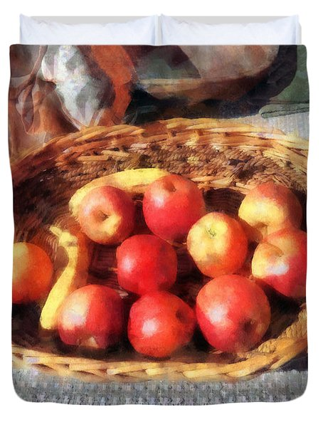 Apples And Bananas In Basket Duvet Cover by Susan Savad