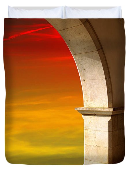Arches At Sunset Duvet Cover by Carlos Caetano