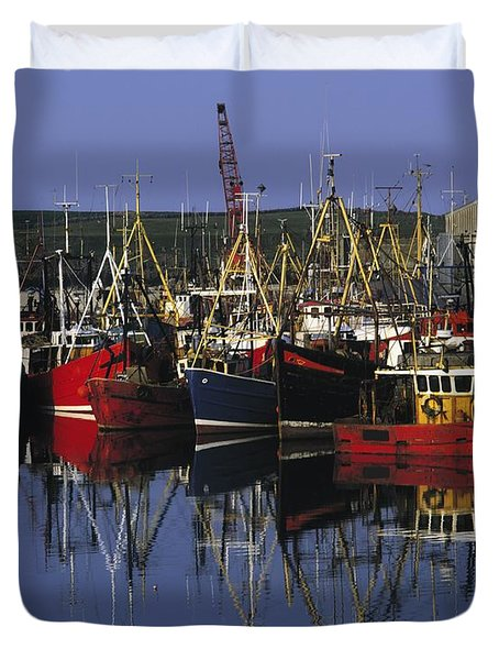 Ardglass, Co Down, Ireland Fishing Duvet Cover by The Irish Image Collection