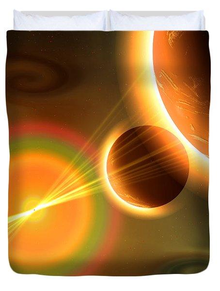 Artists Concept Of A Solar Storm Duvet Cover by Mark Stevenson