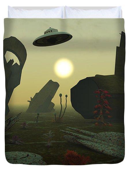 Artists Concept Of An Alien Scrap Yard Duvet Cover by Mark Stevenson
