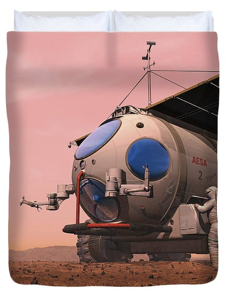 Artists Concept Of How A Martian Duvet Cover by Walter Myers