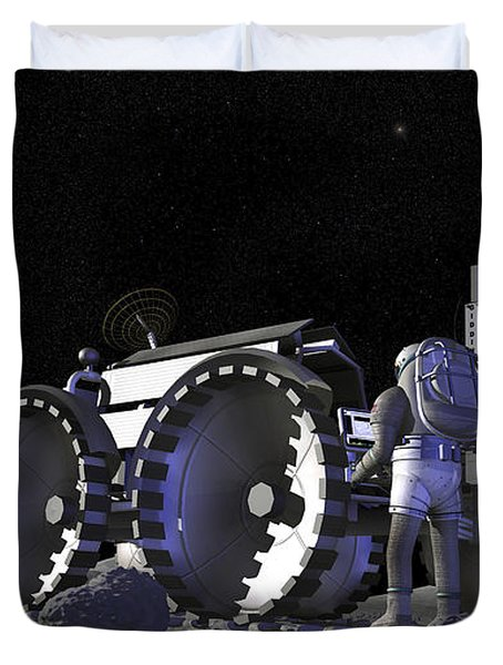 Artists Rendering Of Future Space Duvet Cover by Stocktrek Images