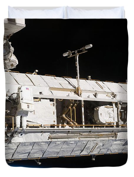 Astronauts Continue Maintenance Duvet Cover by Stocktrek Images