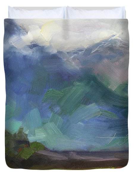At The Feet Of Giants Duvet Cover by Talya Johnson