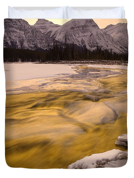Athabasca River And Mt Fryatt, Jasper Duvet Cover by Darwin Wiggett