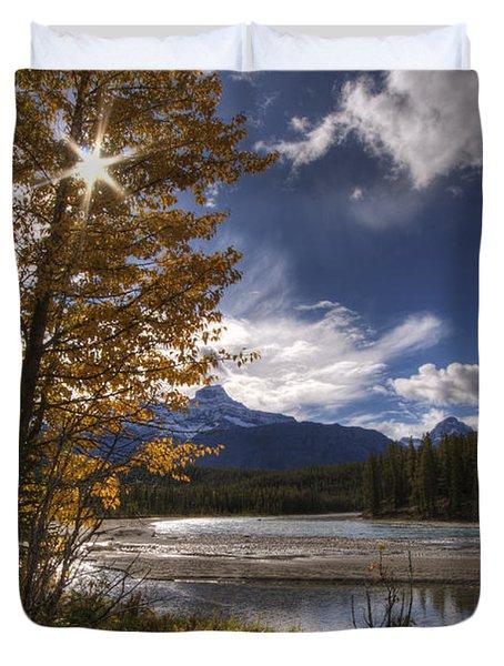 Athabasca River With Mount Fryatt Duvet Cover by Dan Jurak