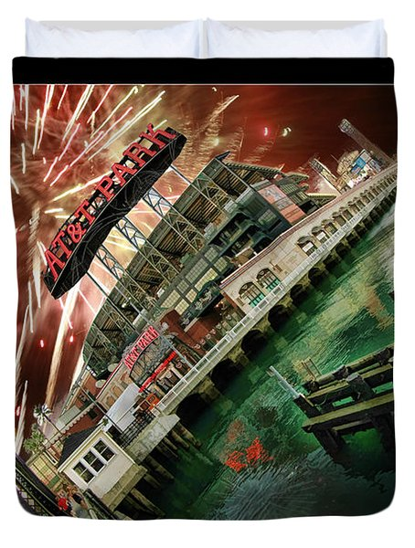 Att Park And Fire Works Duvet Cover by Blake Richards