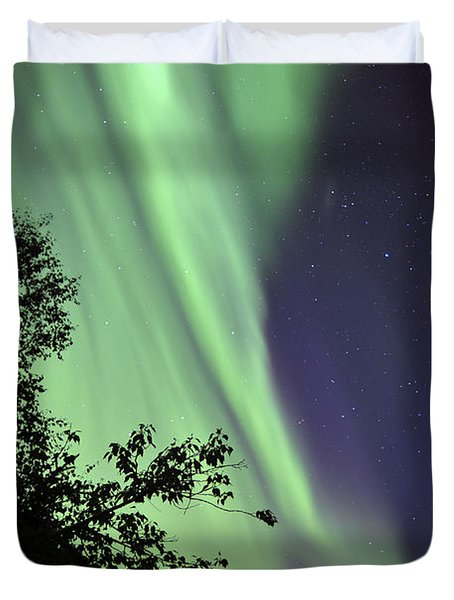 Aurora Borealis Above The Trees Duvet Cover by Jiri Hermann