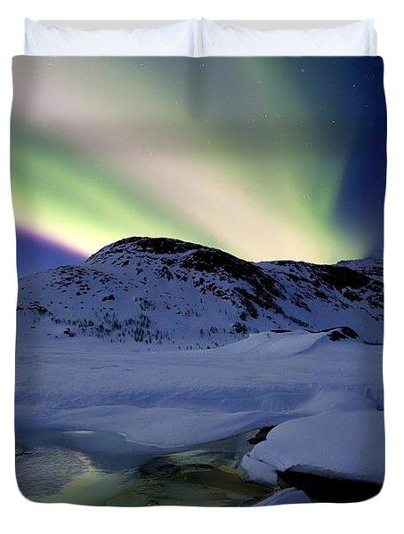 Aurora Borealis Over Mikkelfjellet Duvet Cover by Arild Heitmann