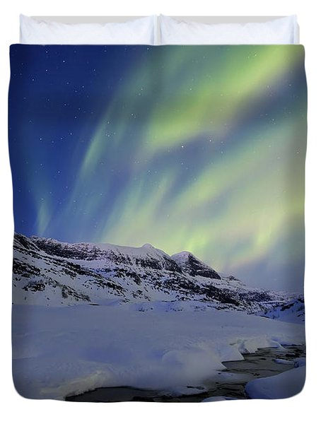 Aurora Over Skittendalstinden In Troms Duvet Cover by Arild Heitmann