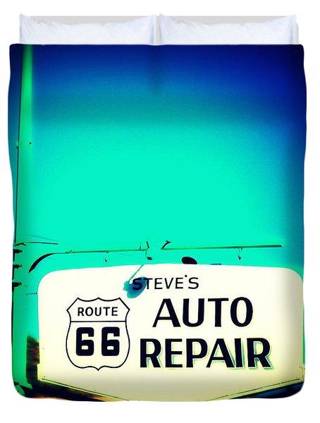 Auto Repair Sign On Route 66 Duvet Cover by Susanne Van Hulst
