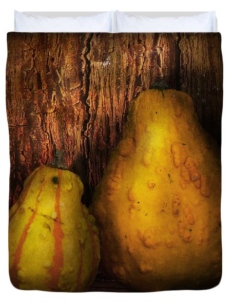 Autumn - Gourd - A pair of squash  Duvet Cover by Mike Savad